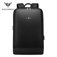 Williampolo Slim Laptop Backpack Men 15.6 inch Office Work Men Backpack Business Bag Unisex Black Ultralight Backpack Thin Back