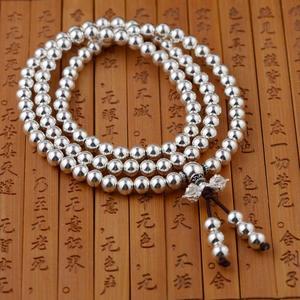 Image 2 - Pulsera Plata de Ley 925 auténtica cuentas redondas multicapas de 108 para mujer, joyería budista hecha a mano para manualidades con cuentas