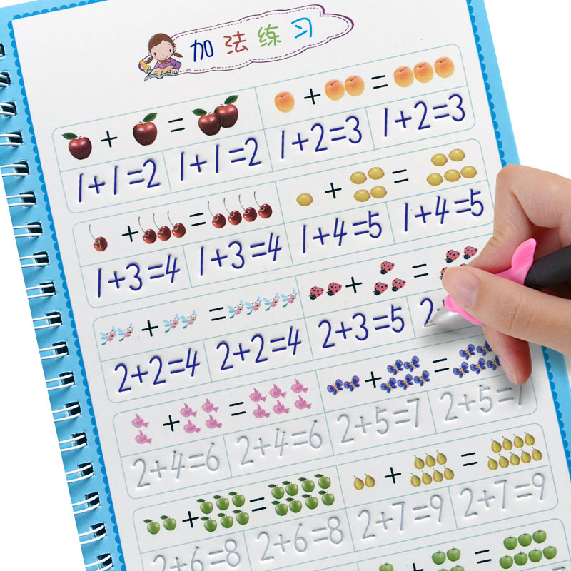 Children Educational 3D Exercise Book Reusable Copybook For Calligraphy Digital Learning Arithmetic Math Writing Books For Kids