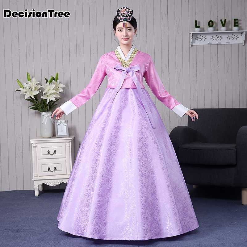 2020 embroidered korean hanbok dress women traditional palace wedding clothing ethnic minority dance costume oriantal