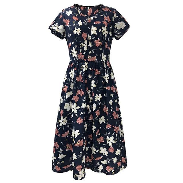 Women Dress 2020 Summer V-neck Floral Print Chiffon Dress Boho Style Short Party Beach Dresses Vestidos de fiesta 3