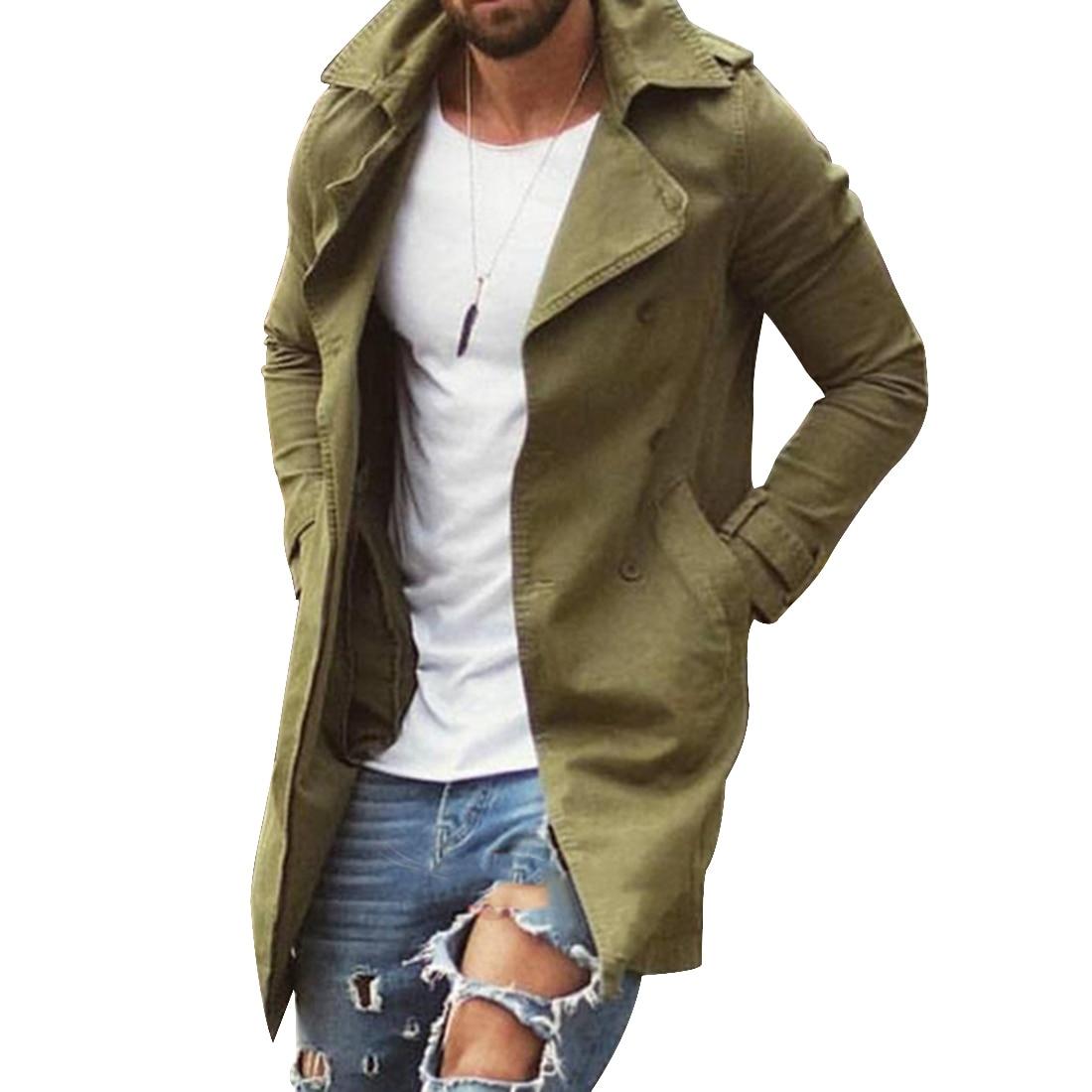 Spring Autumn Men Trench Coat Jacket Slim Fit Plus Size Black Outwear Business Long Windproof Overcoat Jackets For Men 5