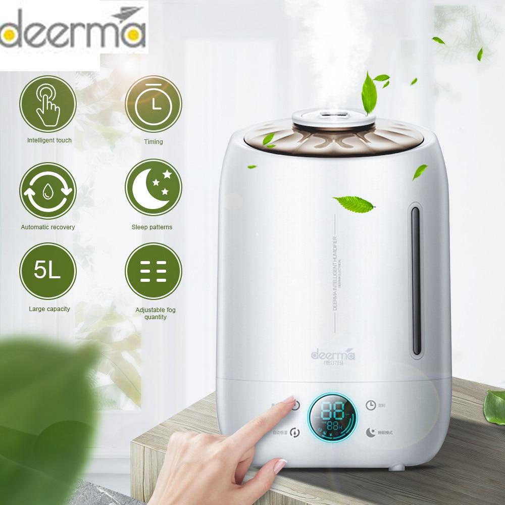 Оригинальный увлажнитель воздуха Deerma, арома-диффузор, масляный ультразвуковой туман 5л, тихий арома-туман, светодиодный сенсорный экран, до...