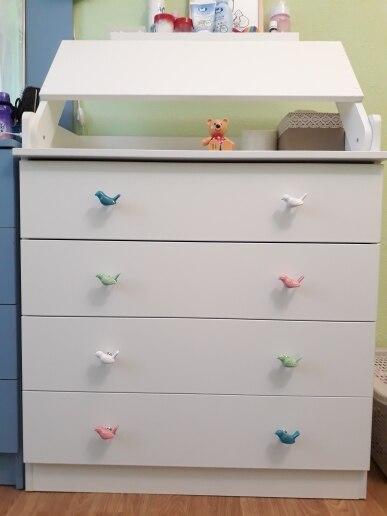 Ceramic Cute Bird  Drawer Dresser Cabinet Knobs Colorful Funiture Handle