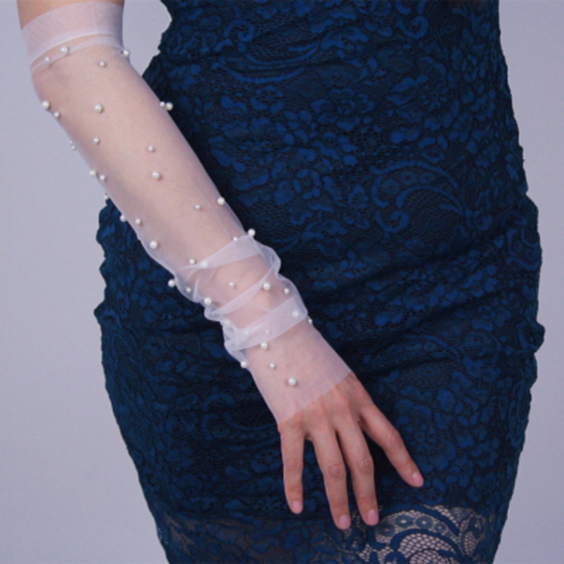 Sexy Sunscreen Driving Gloves Mesh Yarn Long Full Finger Touch Screen Gloves Summer Women Ultra-thin Pearl Lace Gloves H6