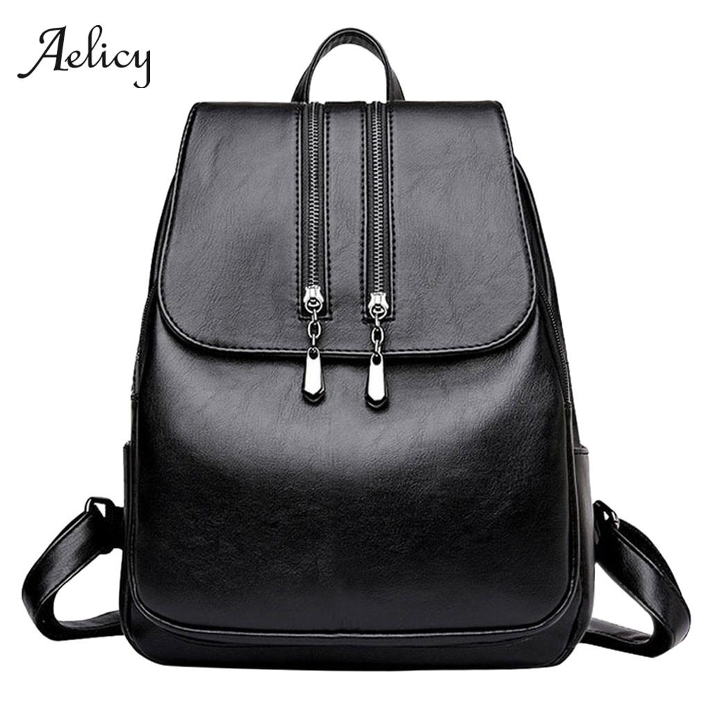 Aelicy Black Backpack Mochila Rucksack School-Bags Teenager Women Feminina Mujer Pu