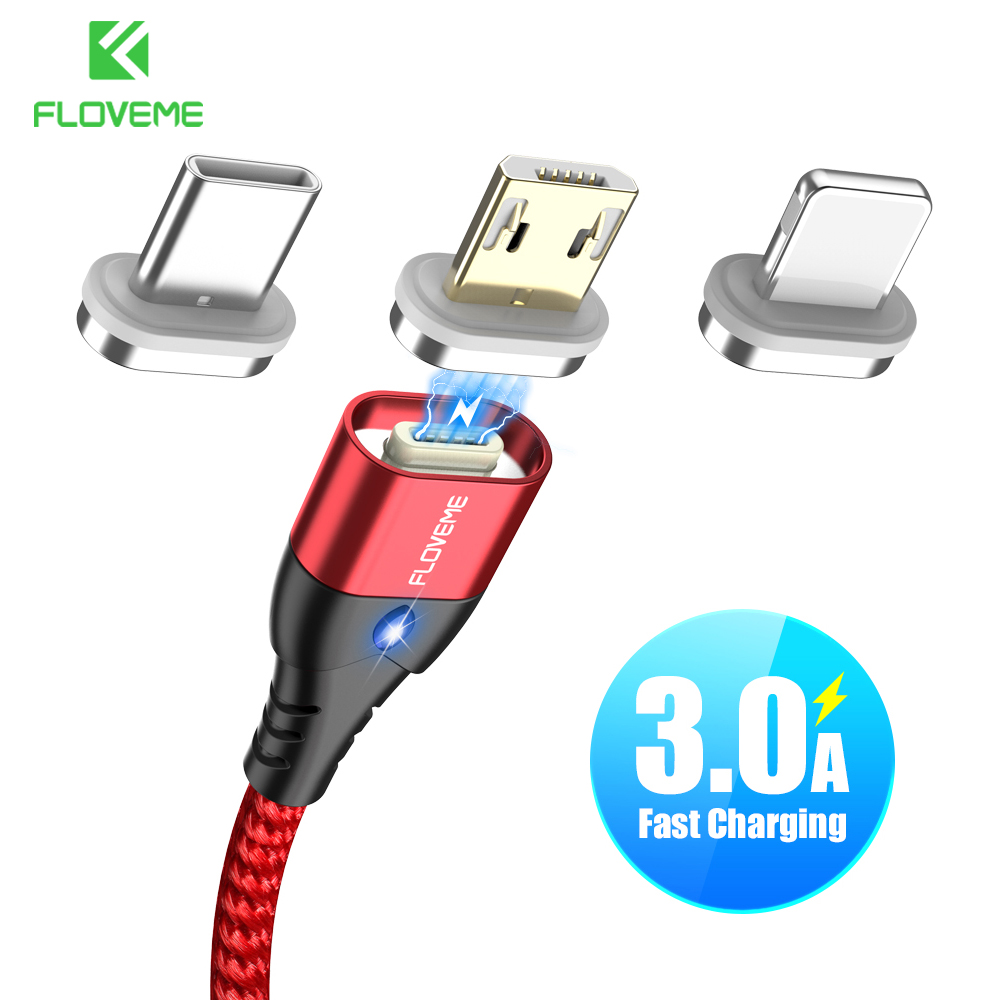 FLOVEME Magnetic Micro USB Type C Cable For iPhone 11 7 Lighting Cable 3A Fast Charging Wire LED Phone Magnet Charger Data Cabo(China)