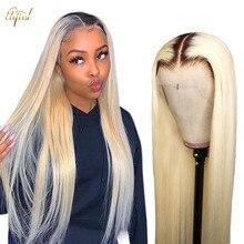 1B/613 Ombre peluca 613 rubia recta peluca malayo transparente encaje pelucas de cabello humano para las mujeres negras Pre arrancado Peluca de encaje Remy