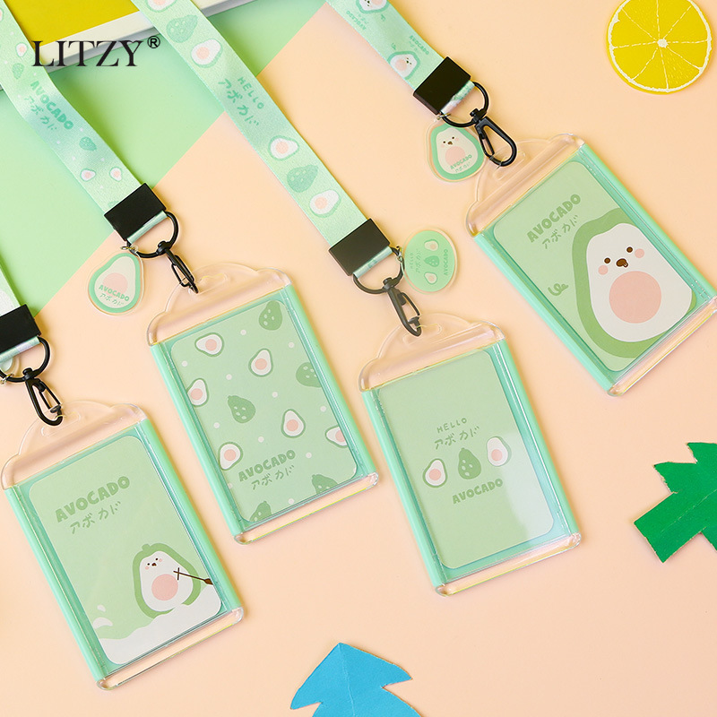 LITZY Cute Avocado Transparent Card Holder Office Srudent Strawberry Dinosaur Card Porte Badge Holder With Lanyard School Supply