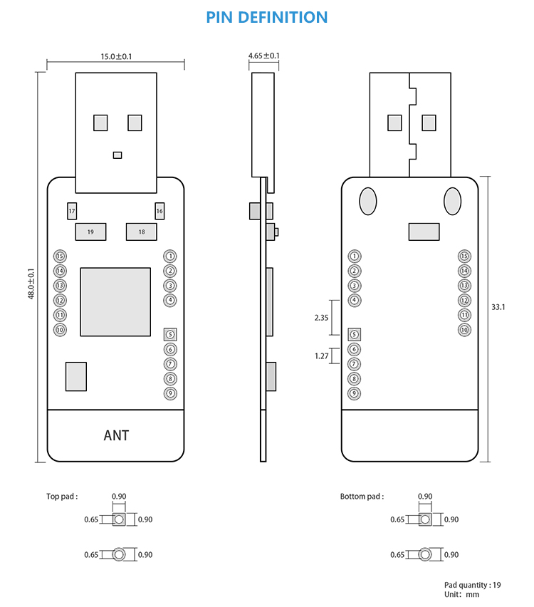 H8dd68266035c41c4bd7decb38b0f26dbV - Zigbee CC2531 Case 4dBm Wireless Transceiver  E18-2G4U04B USB Connector IO Port IoT PCB 2.4GHz Transmitter and Receiver