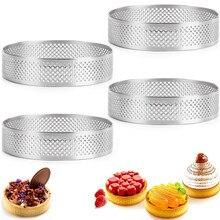 2/5/10 pçs anel tart circular sobremesa francesa perfuração de aço inoxidável torta de frutas bolo quiche mousse molde cozinha cozimento molde