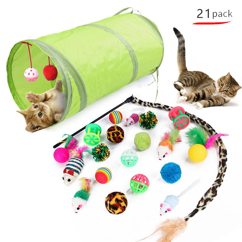 21pcs/set Cat Tunnel Toy Interactive Collapsible Tunnel Pet Kit Funny Bell Feather Mice Dog Cat Toys Indoor Outdoor Pet Supplies image