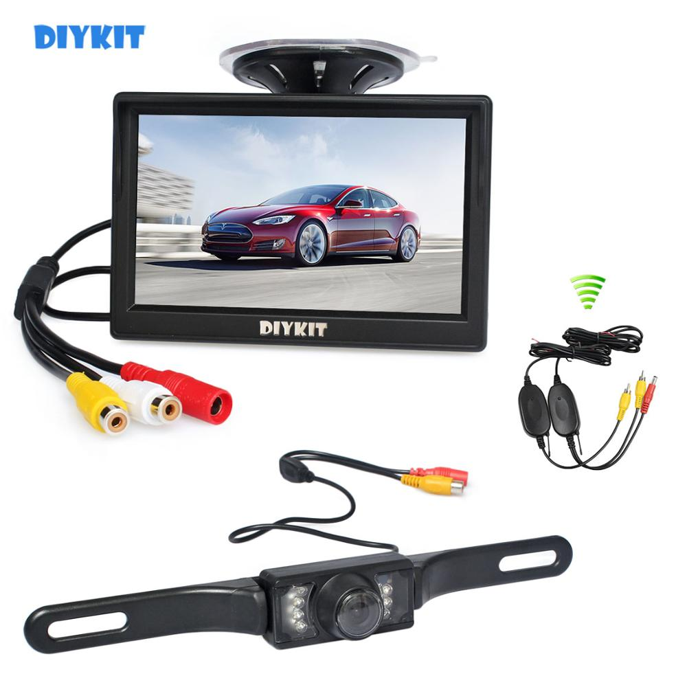 "DIYKIT Wireless 5"" Car Monitor Car Van Truck Parking IR Night Vision Reversing Camera Rear View Security System"