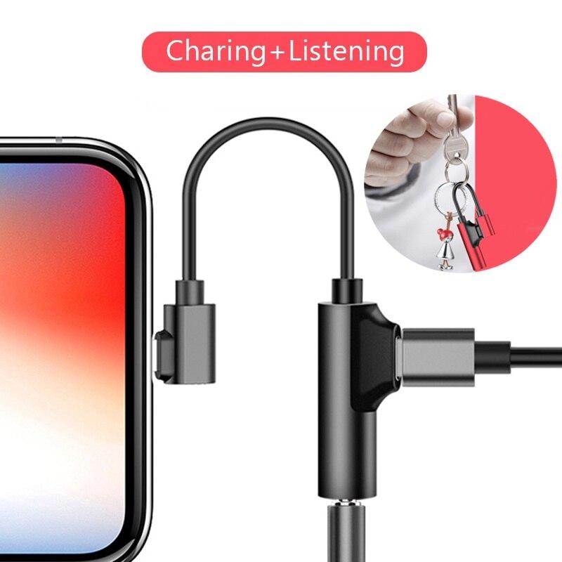 Адаптер для iPhone 11 Pro 2 в 1 разветвитель для наушников для iPhone XS MAX XR X 8 Plus зарядка 3,5 мм разъем AXU Adaptador Auriculares