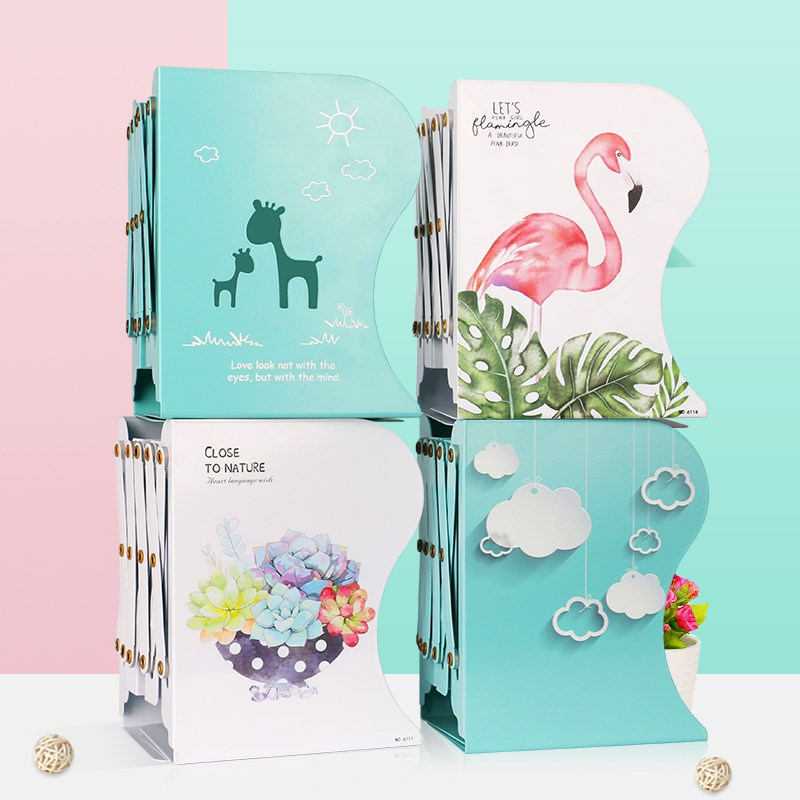 1PC Kawaii Unicorn Metal Desk Book Holder Retractable Bookends Students Desk Organizer Office School Home Bookshelf Stationery 1