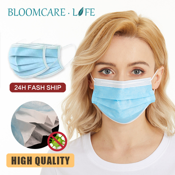 ship in 24 hours【Bloomcare】 Anti Flu Disposable three-layer protective masks bacteria face dust-proof safety masks