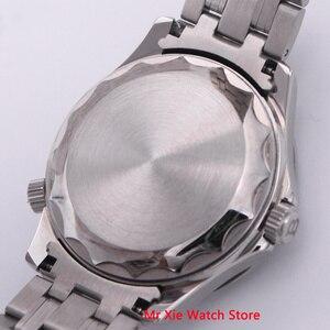 Image 5 - Bliger 41 مللي متر الرجال ساعة الفولاذ المقاوم للصدأ حزام الياقوت الكريستال مضيئة مقاوم للماء التقويم التلقائي الميكانيكية الذكور ساعة اليد