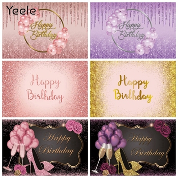 Yeele 18th 20 30 40 50 60th Birthday Backdrop Balloon Golden Dots Vinyl Photography Background Photophone Photocall