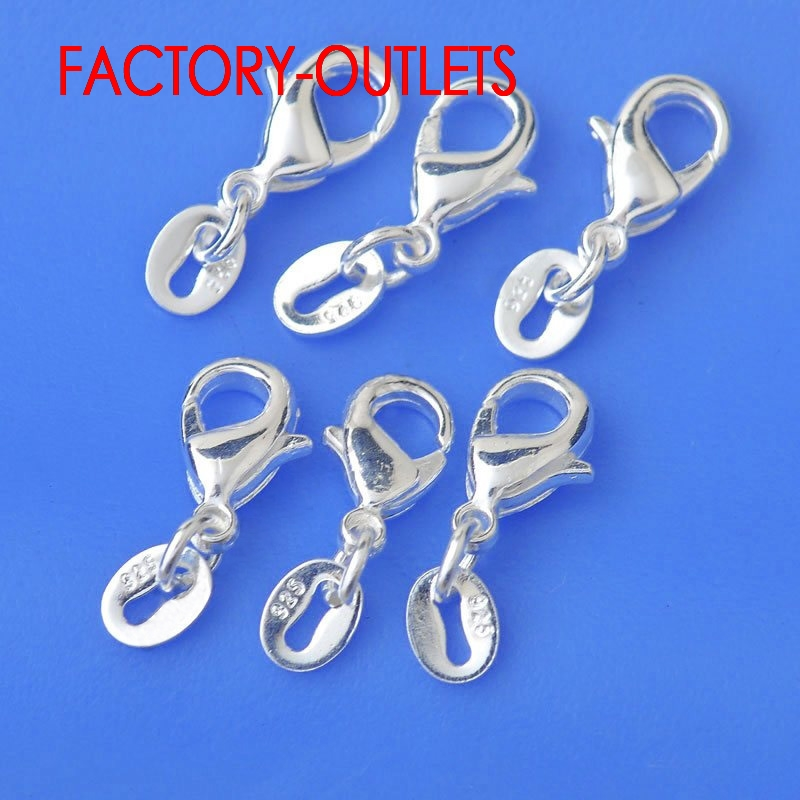 10PCS Korean Fashion Jewelry Necklace Chain Findings Genuine 925 Sterling Silver Lobster Clasp For DIY Jewelry