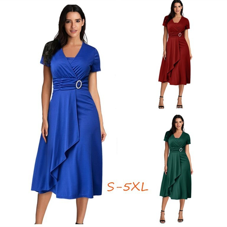 Solid Color Evening Gown Plus Size Party Gowns For Womens Elegant V Neck Short Sleeve Tea-length Evening Dress Vestidos Fiesta