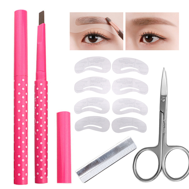 Eyebrow Stencil Shaping Waterproof Eye Brow Pencil Pen Eyebrow Trimmer Scissors Shaver Hair Removal Cosmetic Makeup Tools