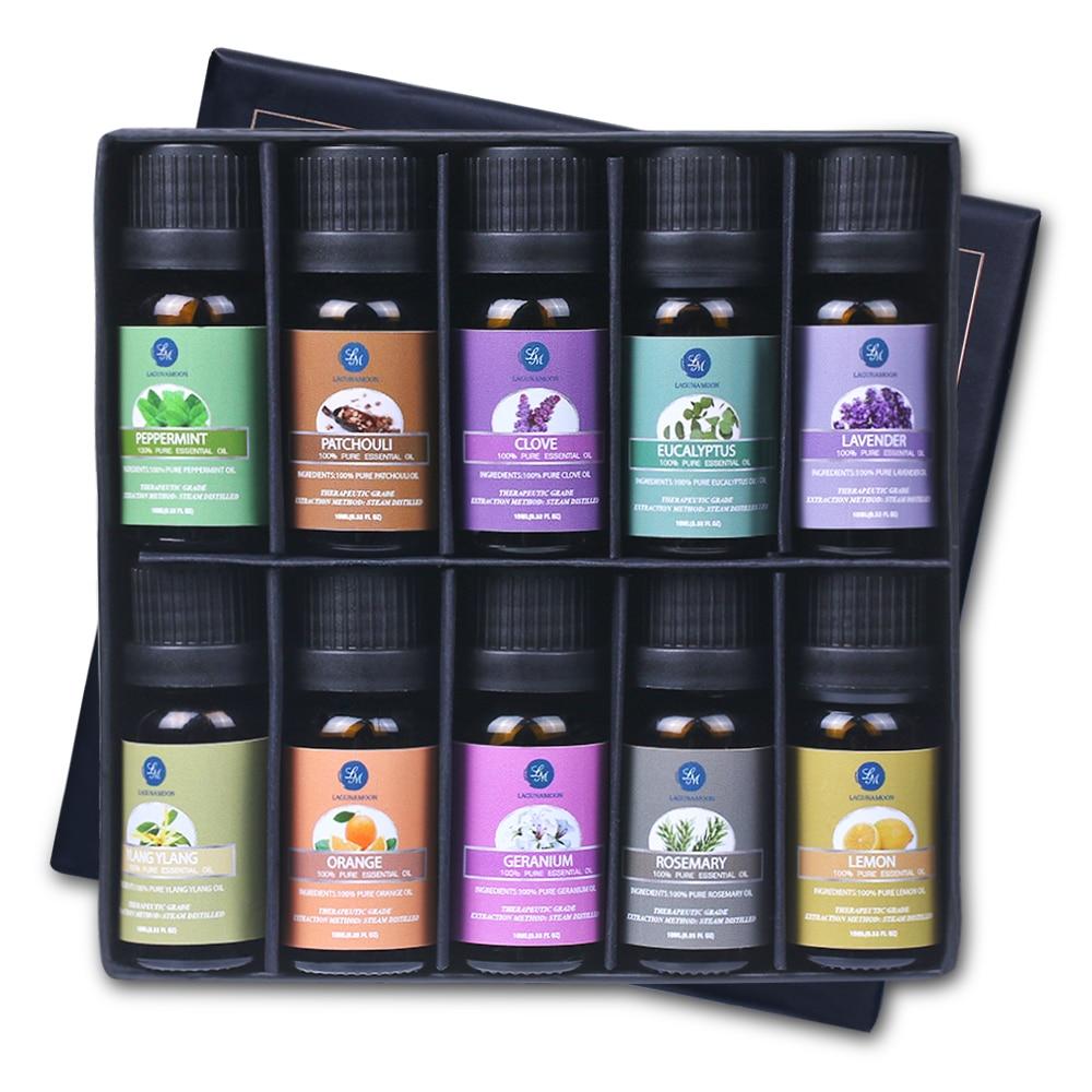 Lagunamoon 10ML 10Pcs Gift Set Pure Essential Oils Diffuser Humidifier Massage Aroma Orange Peppermint Patchouli Lavender Lemon