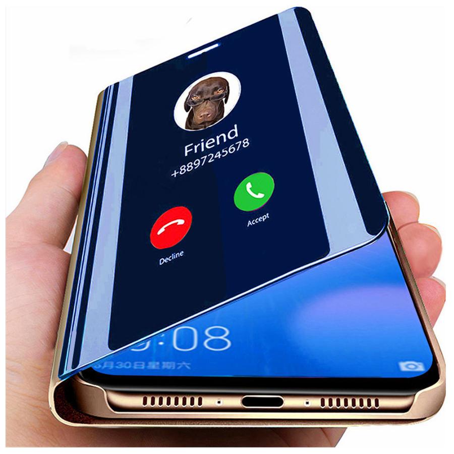 Smart Mirror Flip Phone Case For Xiaomi Redmi Note 9 9s 8T 9A 10T 10 8 Poco X3 M2 7 6 5 Pro Max 6A 7A 9C K20 F2 Lite Cover Coque