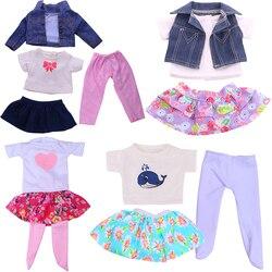 Рубашка для девочек + юбка + леггинсы + куртка одежда для 18 дюймов американская кукла девочиковая игрушка 43 см для ухода за ребенком для мам О...