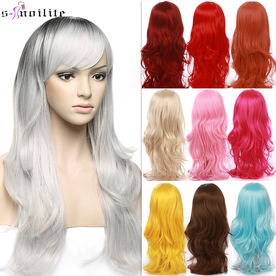 SNOILITE Cosplay Long Wavy Wig With Bangs For Party Synthetic Heat Resistant Red Grey Blonde Purple Ombre Color Anime Hair Wigs