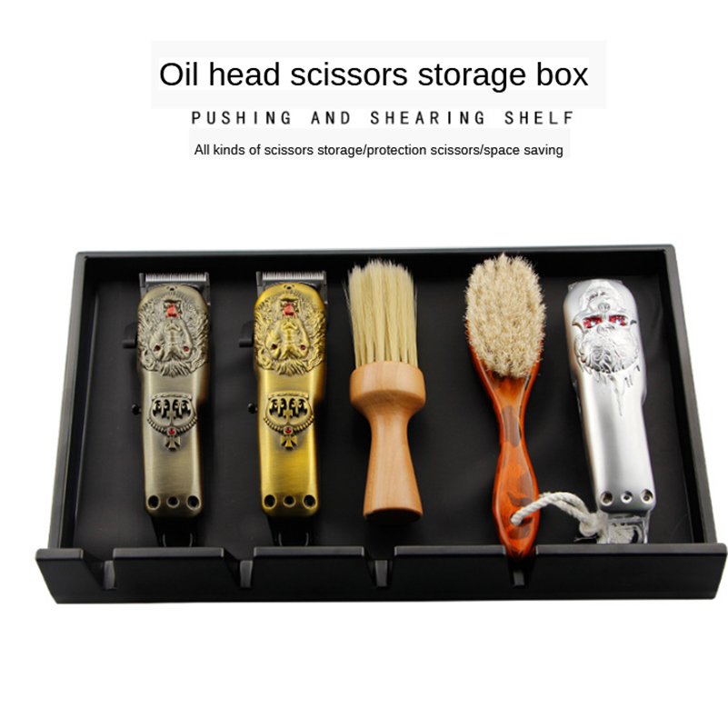 Barber Shop Retro Oil Head Hairdressing Tool Storage Box Clippers Plywood Scissors Storage Tray Anti-fall Box G0107