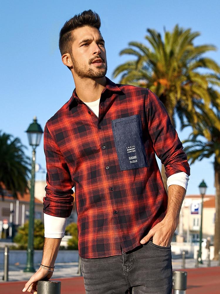 KUEGOU 100% Cotton Autumn Men's Shirt Long Sleeve Plaid Shirt  Spring Fashion Clothes Top Plus Size BC-6987