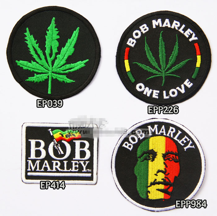 4pcs/set Bob Marley Palm Leaf Iron On Jacket Patches For Clothing Rock Patch Husky Set Kids Gift For Boys About 7.5*7cm