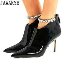 Замшевые ботильоны из натуральной кожи; женские пикантные короткие ботинки с острым носком на высоком тонком каблуке; украшение из горного хрусталя; Осенняя обувь со стразами для подиума;