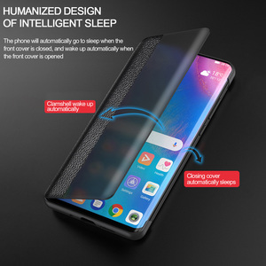 Image 3 - For Huawei P40 Pro Smart Touch View Genuine Leather Flip Leather Case for Huawei P40 P30 P20 Mate 10 20 X Pro Wake Up Full Case