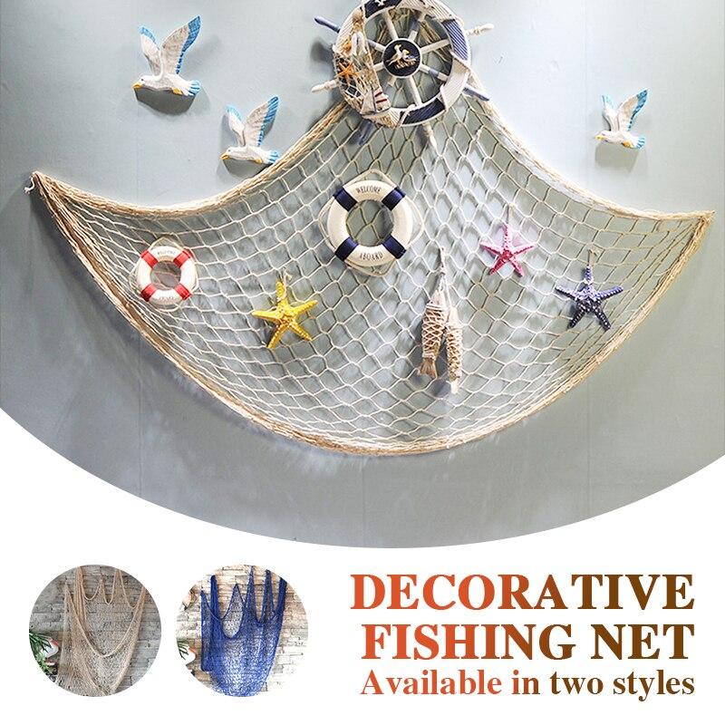 Decorative Fishing Net Blue/Beige Mediterranean Office Beach Playground Hemp Rope Ceative Wall Decor Nautical Bar Home