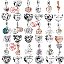 100% 925 prata esterlina para sempre família amor mãe diy contas caber pandora encantos pulseira original presentes do dia das mães jóias femininas
