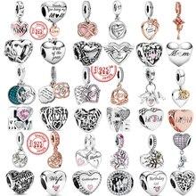 100% 925 стерлингового серебра семья Навсегда Love Mom» («Я люблю маму»)