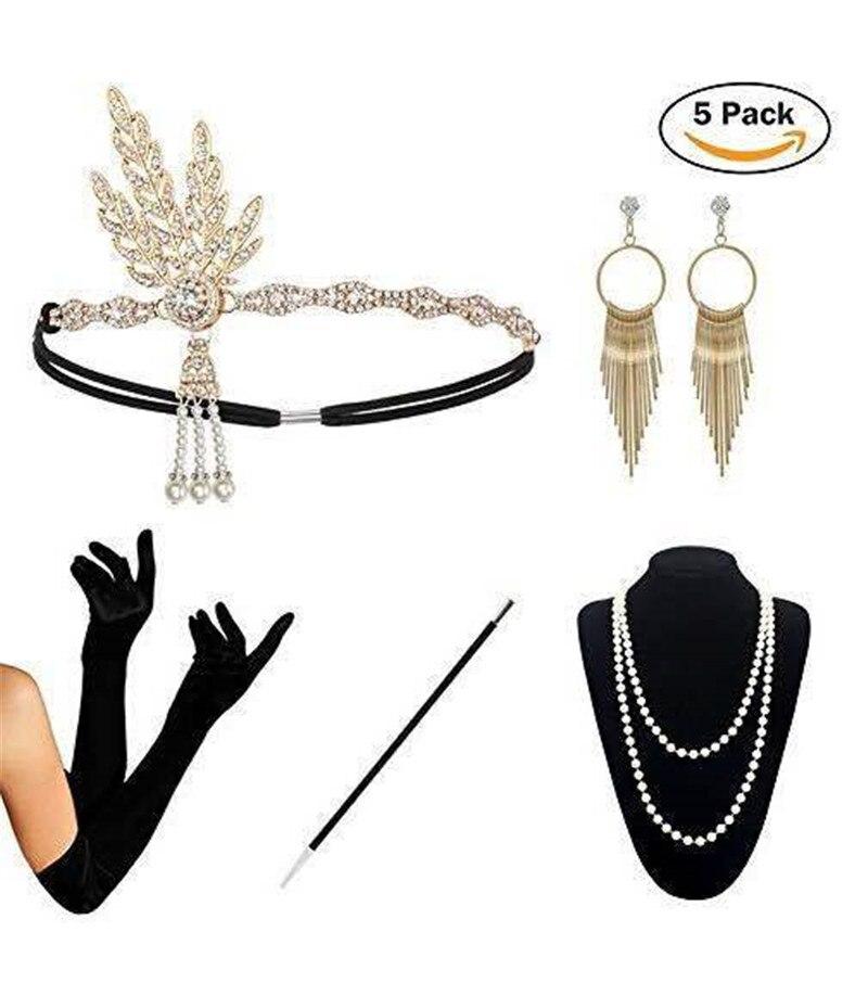 1920s acessórios do traje do vestido extravagante de metal luvas headband do cigarro titular pulseira colar de pérolas