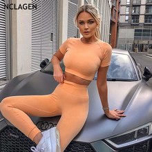 NCLAGEN 2020 Seamless Suit 2 Piece Set Women Sport Leggings And Top Push-up Fitness Gym Clothes Workout Elastic Slim Sportswear