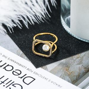 2020 Модный Стиль Циркон Открытое кольцо для женщин Имитация Жемчуга геометрические кольца модные латунные ювелирные изделия оптом
