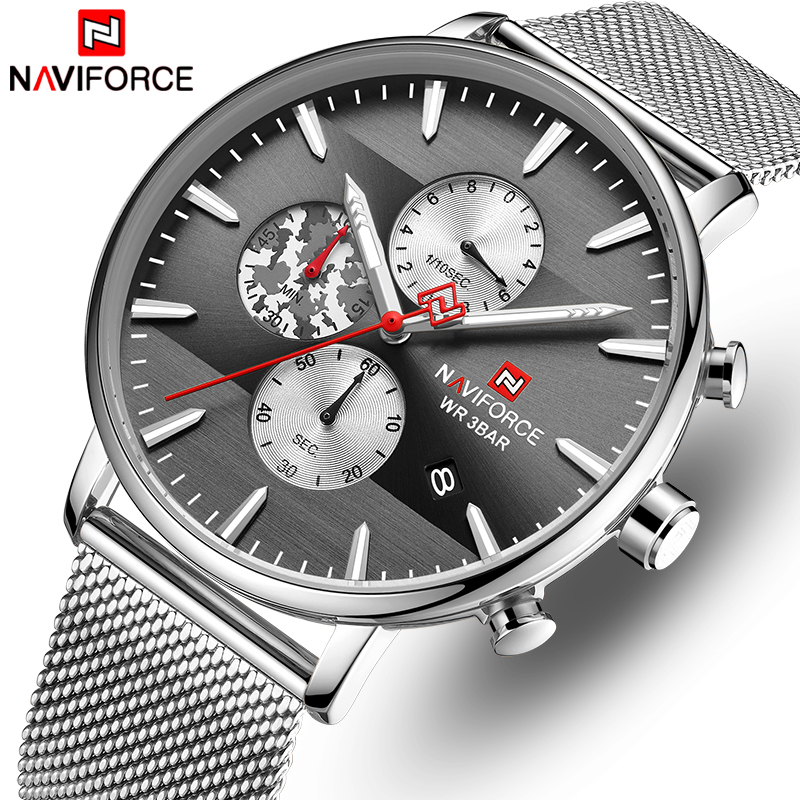 Men's Watches NAVIFORCE Fashion Casual Quartz Watch Men Chronograph Waterproof Analog Wrist Watch Male Clock Relogio Masculino