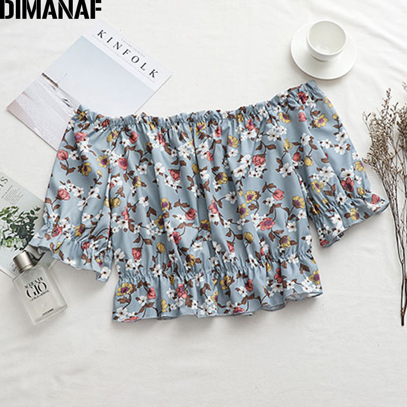 DIMANAF Summer Plus Size Women Blouse Shirt Elegant Lady Tops Tunic Loose Pleated Fashion Print Floral Strapless Clothes Spring