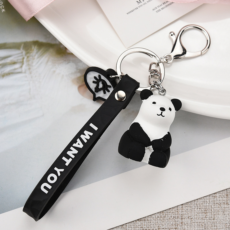 2019 Fashionable Geometric Small Dinosaur Key chain Animal Cartoon Small white Rabbit Key chain lady Bag Charm Key Ring pendant in Key Chains from Jewelry Accessories