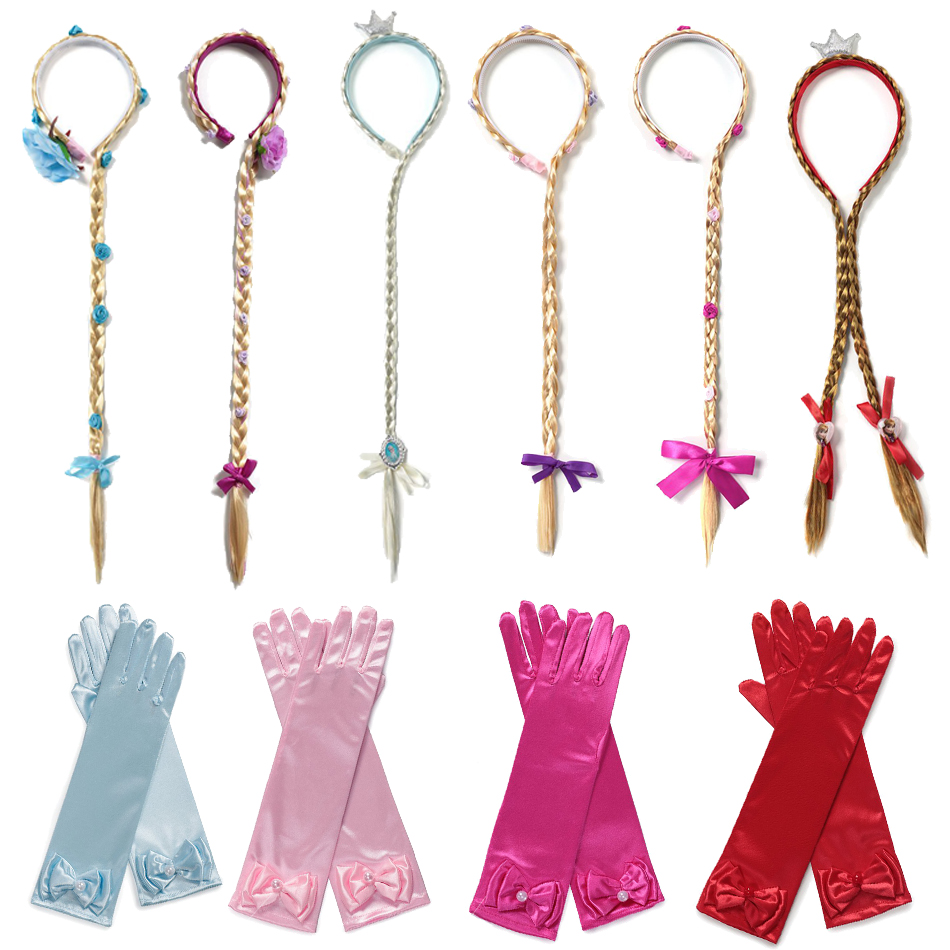 Princess Braid Gloves Set For Elsa Anna Cosplay Dress UP Cinderella Sofia Aurora Rapunzel Headband Hair Hoop With Braids Flower