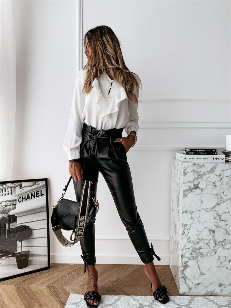 Woman Pants Zipper High Waist Leather Pants Streetwear Aesthetic Trousers Mujer Pantalones Calcas Mulher Spodnie Zhenskie Shtany Big Deal 3b1f22 Cicig