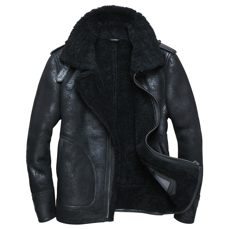 Genuine Leather Jacket Real Pure Natural Fur Coat Jacket Men Natural Sheepskin Leather Jacket Wool Coat WP14D133 MY748