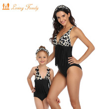 Tassel Leopard Mom Daughter Swimwear Family Look Mommy And Me Bikini Mother And Daughter Swimsuit Dad Son Matching Beach Shorts family matching swimwear leopard print mother daughter bikini kids swimsuit women one piece swim men boy dad son beach shorts