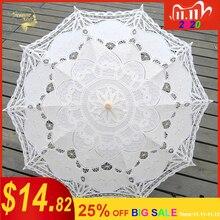 Neue Sonnenschirm Baumwolle Stickerei Braut Regenschirm Weiß Elfenbein Battenburg Spitze Sonnenschirm Regenschirm Dekorative regenschirm für hochzeit