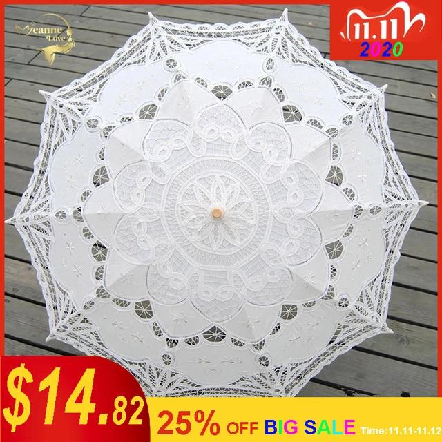 Sombrilla bordada de algodón para novia, sombrilla de encaje blanco marfil, sombrilla decorativa para boda