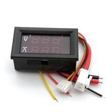 Цифровой вольтметр Амперметр постоянного тока 0 100 в 10 А, двойной дисплей, детектор напряжения, стандартный индикатор напряжения, 0,28 дюйма, красный, синий светодиод